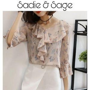 Sadie & Sage Peach Ruffle Blouse